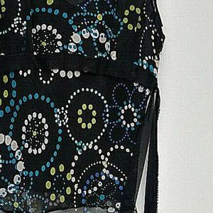Fusion Tops - Black Sleeveless Floral Top Medium